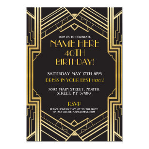 1920 birthday party invitations announcements zazzle 1920s art deco birthday invite gatsby party gold filmwisefo Choice Image
