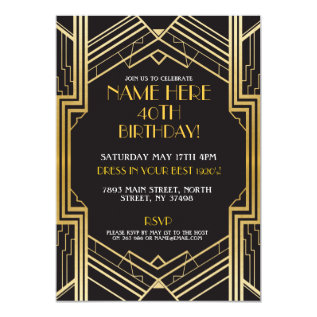 1920's Art Deco Birthday Invite Gatsby Party Gold at Zazzle
