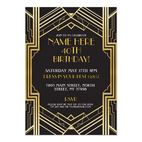 1920s Art Deco Birthday Invite Gatsby Party Gold Zazzlecom