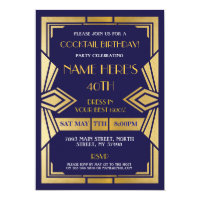 1920's Art Deco Birthday Invite Gatsby Party Navy