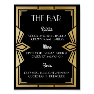 1920's Art Deco Black Bar Sign Wedding Reception