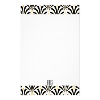 1920s Art Deco Black Fans Pattern Initial Letters Stationery