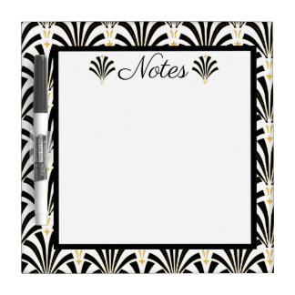 1920s Art Deco Black & White Palmettos Dry-Erase Board