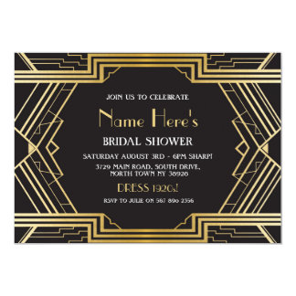1920's Art Deco Bridal Shower Party Gatsby Gold Card