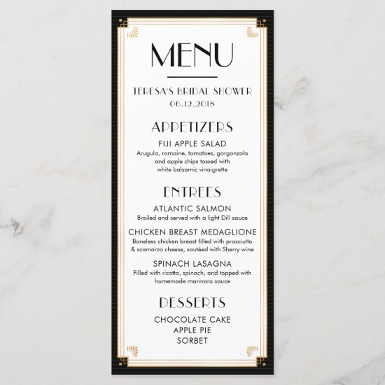1920's, Art Deco, Bridal Shower, Wedding, Menu