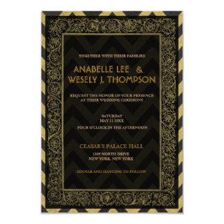 1920s Art Deco Chevron Wedding Invtitation 3.5x5 Paper Invitation Card