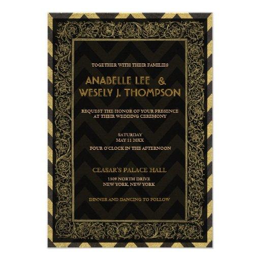 1920s Art Deco Chevron Wedding Invtitation Invitations