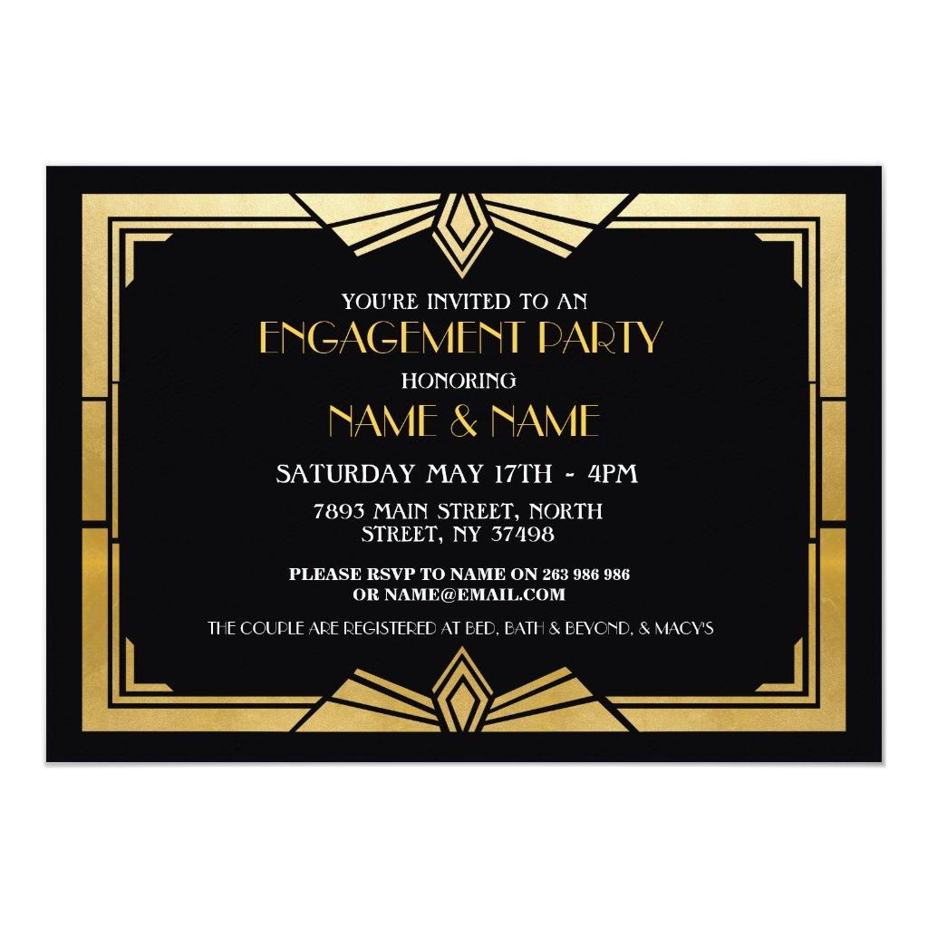 1920 S Engagement Party Invitations Retro Invites