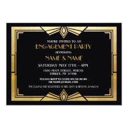 1920s Art Deco Engagement Party Invite Gatsby Gold