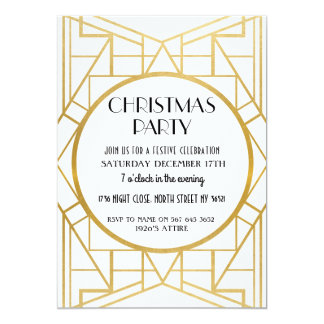 1920's Art Deco Gatsby 20s Christmas Party Gold Card