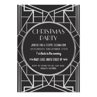 1920's Art Deco Gatsby 20s Christmas Party Silver Card