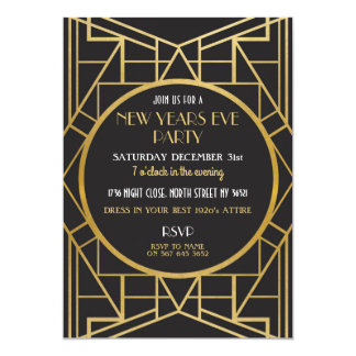 1920's Art Deco Gatsby Great New Years Eve Party Card