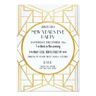 1920's Art Deco Gatsby New Years Eve Party invite