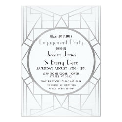 1920's Art Deco Gatsby Silver Engagement Invite