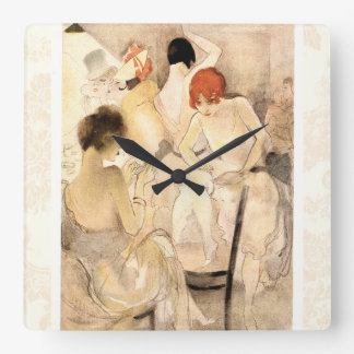 1920s Art Deco ~ Girls in the Dressing Room Square Wall Clock