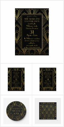 1920's Art Deco New Years Eve Party Black and Gold