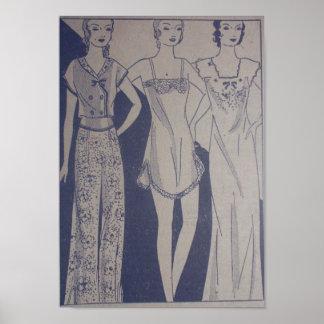 1920s Art Deco Poster Three Gals in Undies