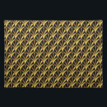 """1920&#39;s Art Deco Style Fan Pattern in Black &amp; Gold Placemat<br><div class=""""desc"""">A vintage style Art Deco style pattern from the 1920s featuring a black background with fans in shades of golden yellow and beige,  arranged in a tiled pattern.</div>"""
