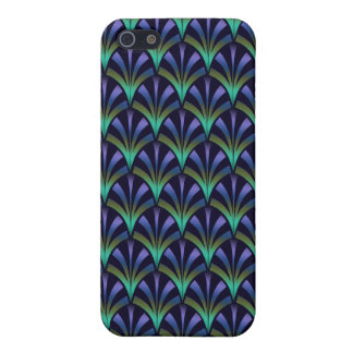 1920s Art Deco Style Fan Pattern in Peacock Colors iPhone 5 Covers