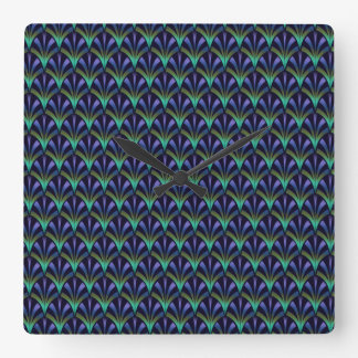 1920s Art Deco Style Fan Pattern in Peacock Colors Square Wall Clock