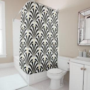 1920s Art Deco Vintage Black U0026 White Palmettos Shower Curtain