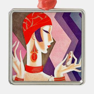 1920s Art Deco Woman Metal Ornament