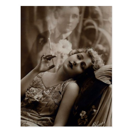 1920s Art Deco Woman Smoking Postcard
