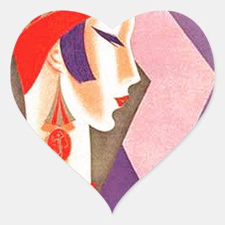 1920s Art Deco Woman Heart Sticker