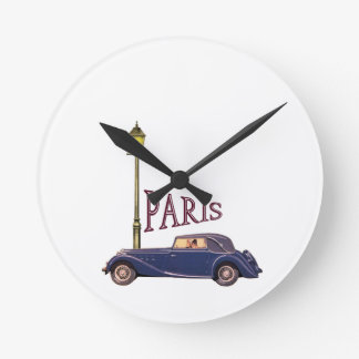 1920's Automobile - Paris Round Wall Clock