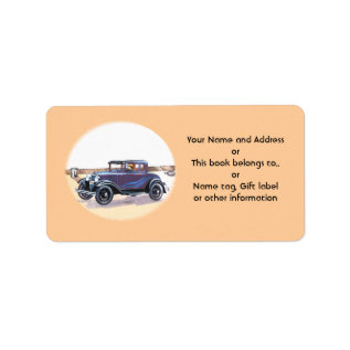 1920s Blue Vintage Auto Name Gift Tag Bookplate at Zazzle