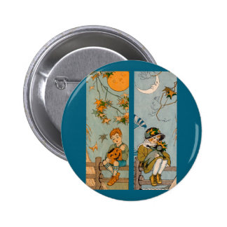 1920s boy and girl in autumn pinback button