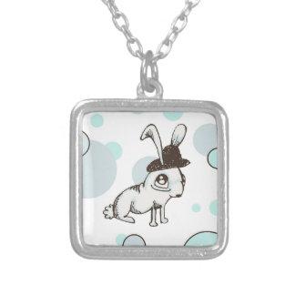 1920s Bunny Polka Dot Square Pendant Necklace