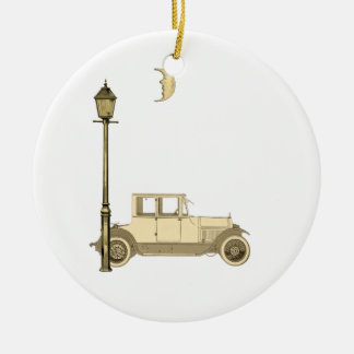 1920's Car and Street Lamp Ceramic Ornament