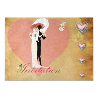 1920's Couple And Love Heart 5x7 Paper Invitation Card