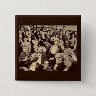 1920s crowd scene pinback button