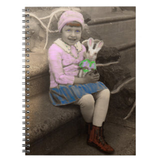 1920s cute little girl with bunny doll Happy Easte Notebook