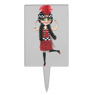 1920s Dancing Flapper Girl in Red Cake Topper