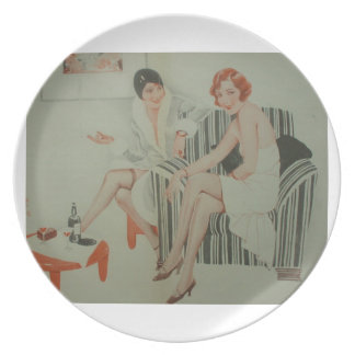 1920s Deco French Beauties Drinking Wine Plate