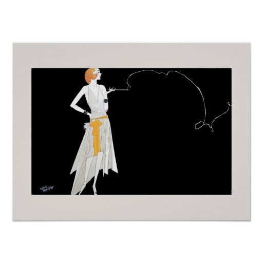 1920s fashion flapper girl drawing posters