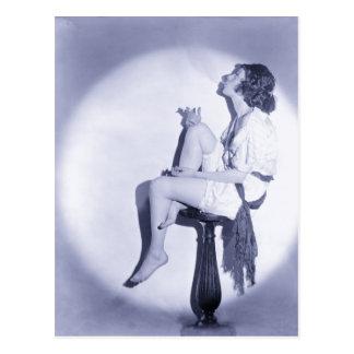 1920s Fashion with smoking model Postcard