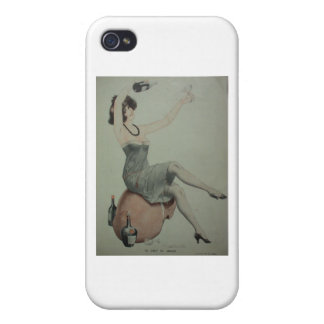 1920s Flapper Champagne Girl iPhone 4 Case