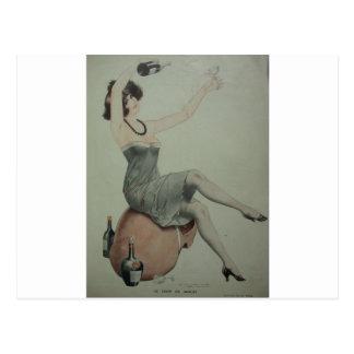 1920s Flapper Champagne Girl Postcard