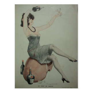 1920s Flapper Champagne Girl Postcard