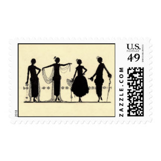 1920's Flapper Fashion Silhouette Stamp