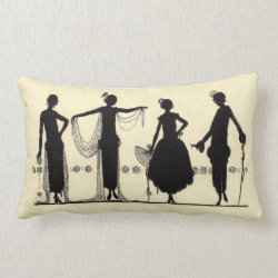 1920's Flapper Fashion Silhouette Throw Pillow