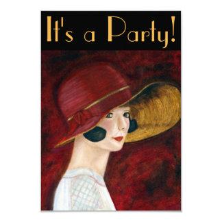 1920s Flapper Girl in Red Hat Roaring Twenties Card