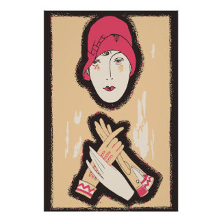 1920s flapper girl ladies fashion ad poster