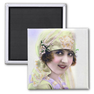 1920's Flapper in Green and Purple 2 Inch Square Magnet