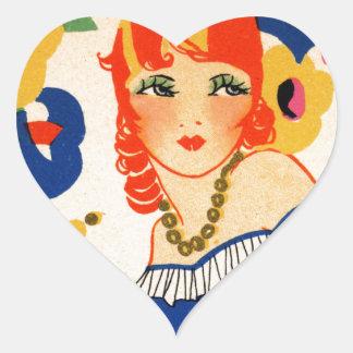 1920's Flapper Heart Sticker