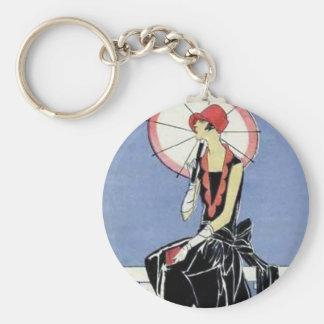 1920s Flapper with Umbrella Basic Round Button Keychain